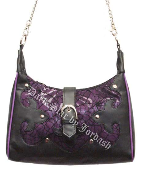 Black & Purple Cobweb Net / PVC hand bag