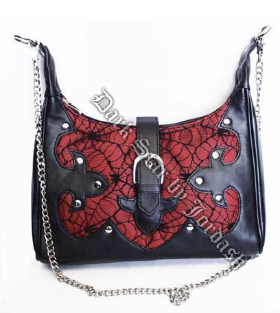 Black & Red Cobweb Net / PVC hand bag