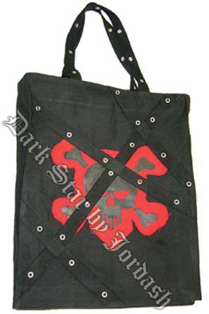 Canvas Tote Bag with a Red Skull
