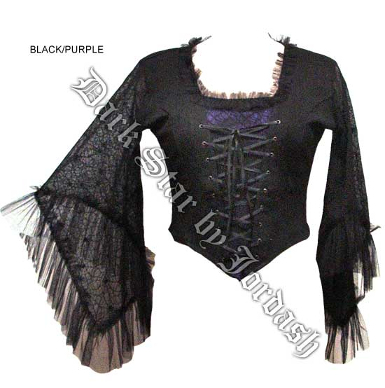 Black & Purple Stretch Cobweb Top (M/L)
