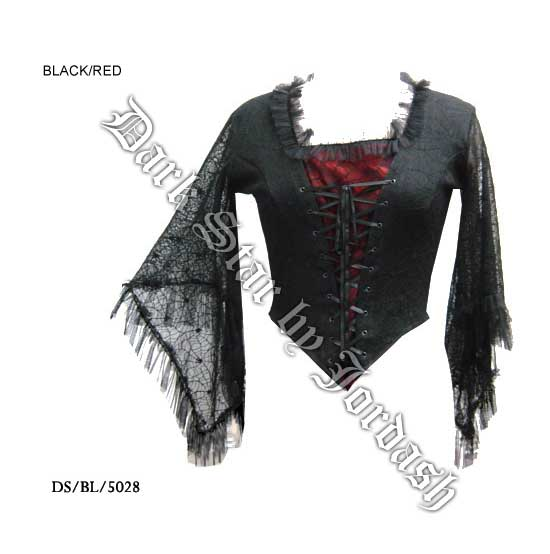 Black & Red Stretch Cobweb Top (M/L)
