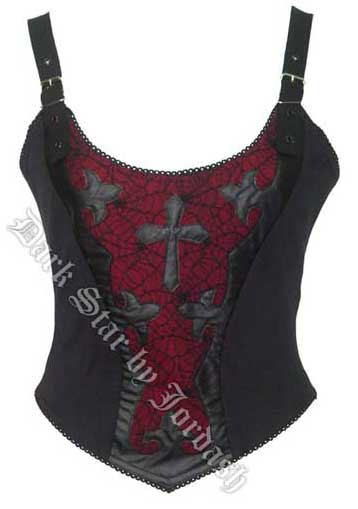 Black & Red Basque Style Top