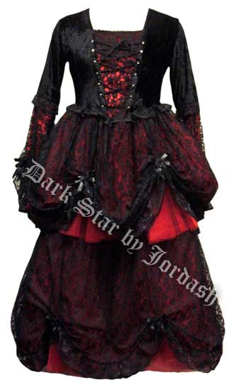 Black / Red Dress with Velvet Lace Up Top (L/XL)