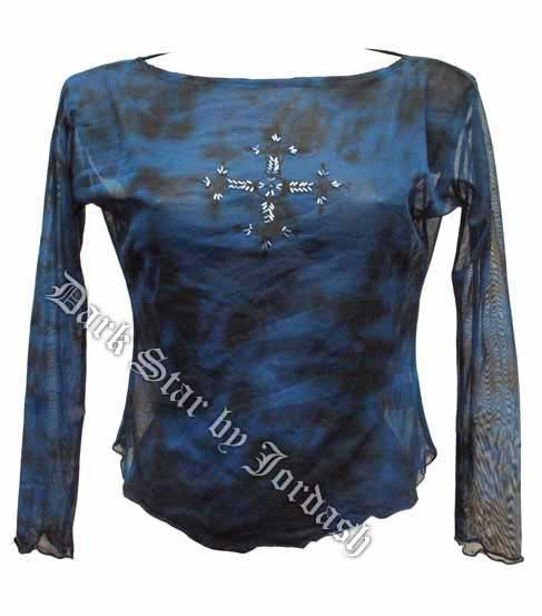 Sequin Embroidered Cross Top Black/Blue