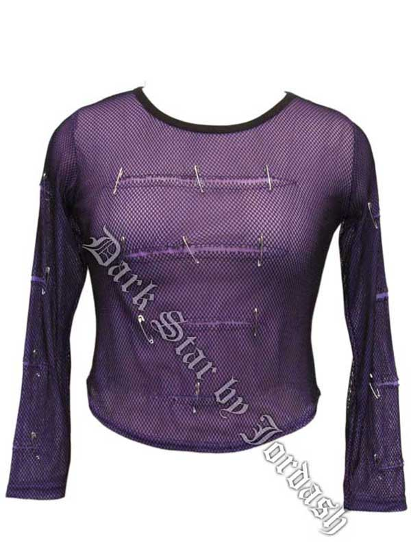 Stretch Net over Purple Fine Mesh Top (10-14)