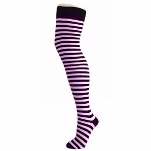 Striped Over Knee Socks - Black & Light Pink