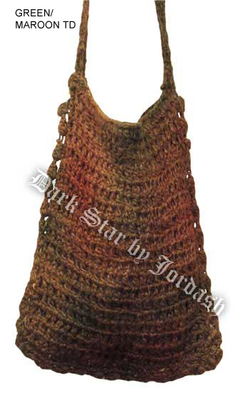 Green / Maroon Tie Dye Knitted Shoulder Bag
