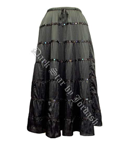 Black Sequined Satin Skirt